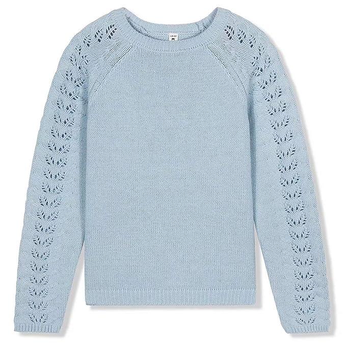 Kid Nation Girls Sweater Long Sleeve Cardigan Ruffles Stripe Cotton School Uniforms Knit Sweater