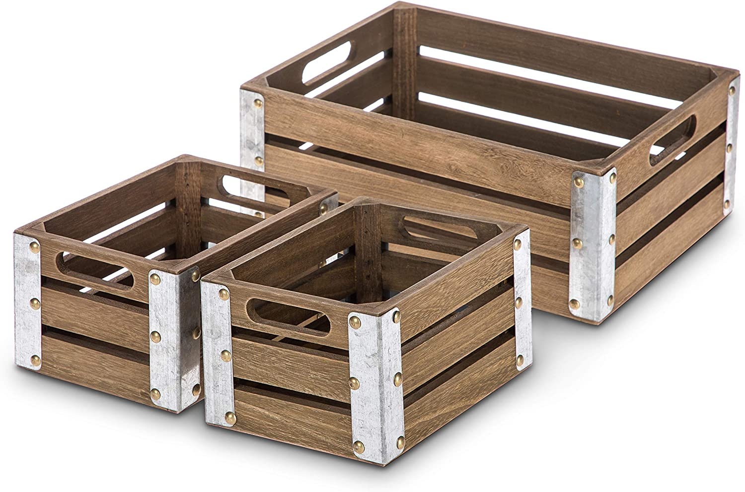 Home Zone Living Wooden Crate Storage Set, Stackable and Nested Set of 3 with Cutout Handles and Metal Plated Edges