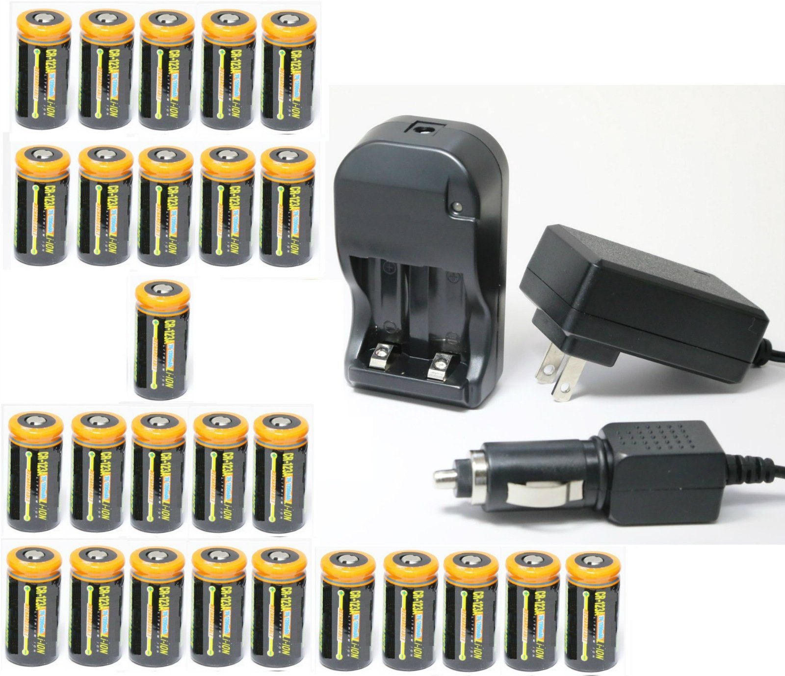 Ultimate Arms Gear 26pc CR123A 3V 1200 mAh Lithium Rechargeable Batteries Battery Charger Kit Universal 110/220V Rapid Wall Outlet & 12V Car Lighter Plug Adapter by Ultimate Arms Gear