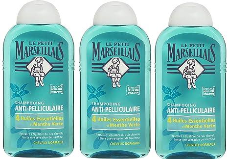 le plus en vogue boutique de sortie grande collection Le Petit Marseillais - Shampoing Antipelliculaire Cheveux Normaux 4 Huiles  Essentielles et Menthe Vert - 250 ml - Lot de 3