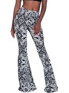 f57a3d85309de Govc Women Casual Print Stretchy Bell Bottom Flare Palazzo Skinny Pants  High Waist Trousers