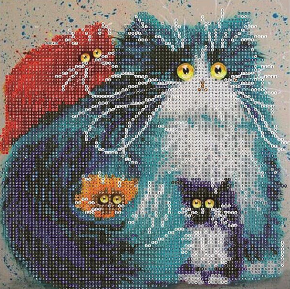 5D Diamond Painting Kit DIY Rhinestone Embroidery Cross Stitch Arts Craft for Home Wall Decor Four Cats 12x12 inch