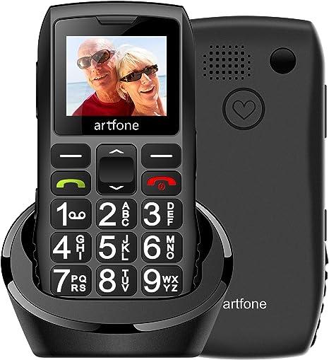 Artfone Senior Series Móvil para Personas Mayores con Teclas Grandes,con Doble SIM y SOS Botón, Batería de 1400 mAh, Base de Carga, 2G: Amazon.es: Electrónica