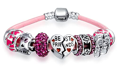 Bff Best Friends Multi European Bead Charms Bracelet Pink Genuine Leather  For Women 925 Sterling Silver Barrel Clasp