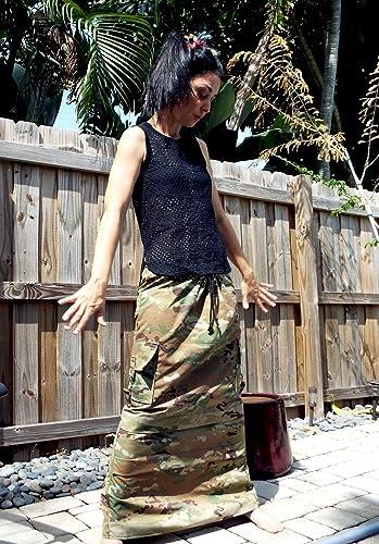 5855a4007a Amazon.com: Long UCP Camouflage Cargo Skirt: Handmade
