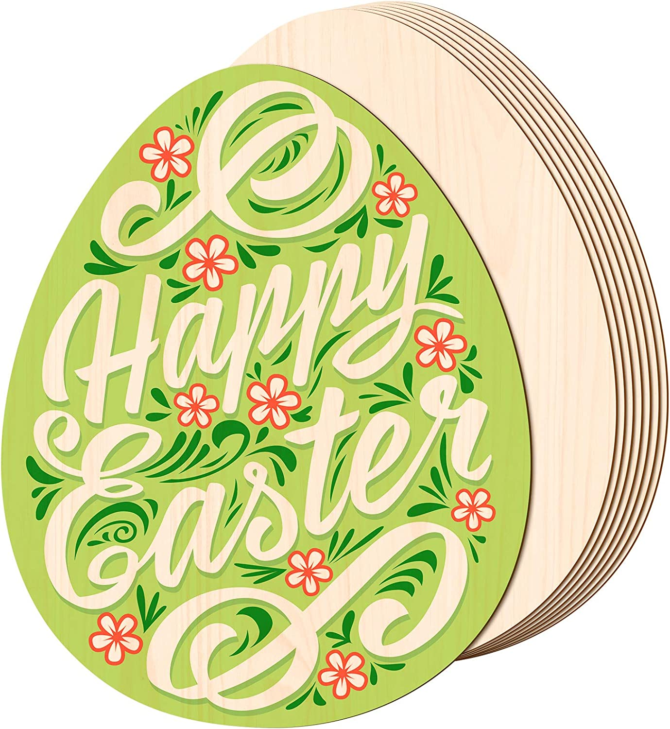 8 Pieces 11 Inch Wooden Easter Egg Cutouts Unfinished Wooden Egg Slices Easter Wooden Egg Discs Blank Egg Cutouts Ornaments for Holiday Hanging Embellishments, Painting, DIY Crafts