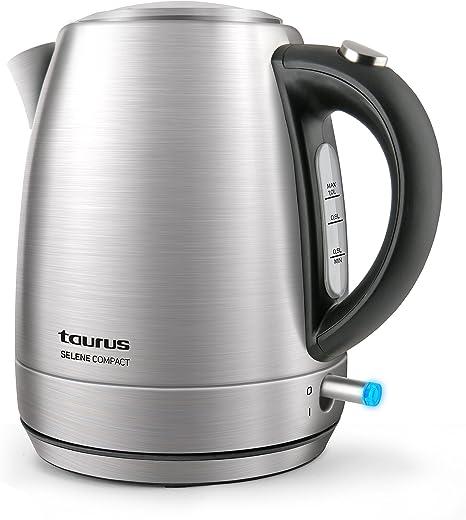 Taurus Selene Compac Hervidor de agua, cuerpo de Inox, 2200 W, 1 liter, Jarra sin cable, Filtro extraíble, color plateado: Taurus: Amazon.es: Hogar