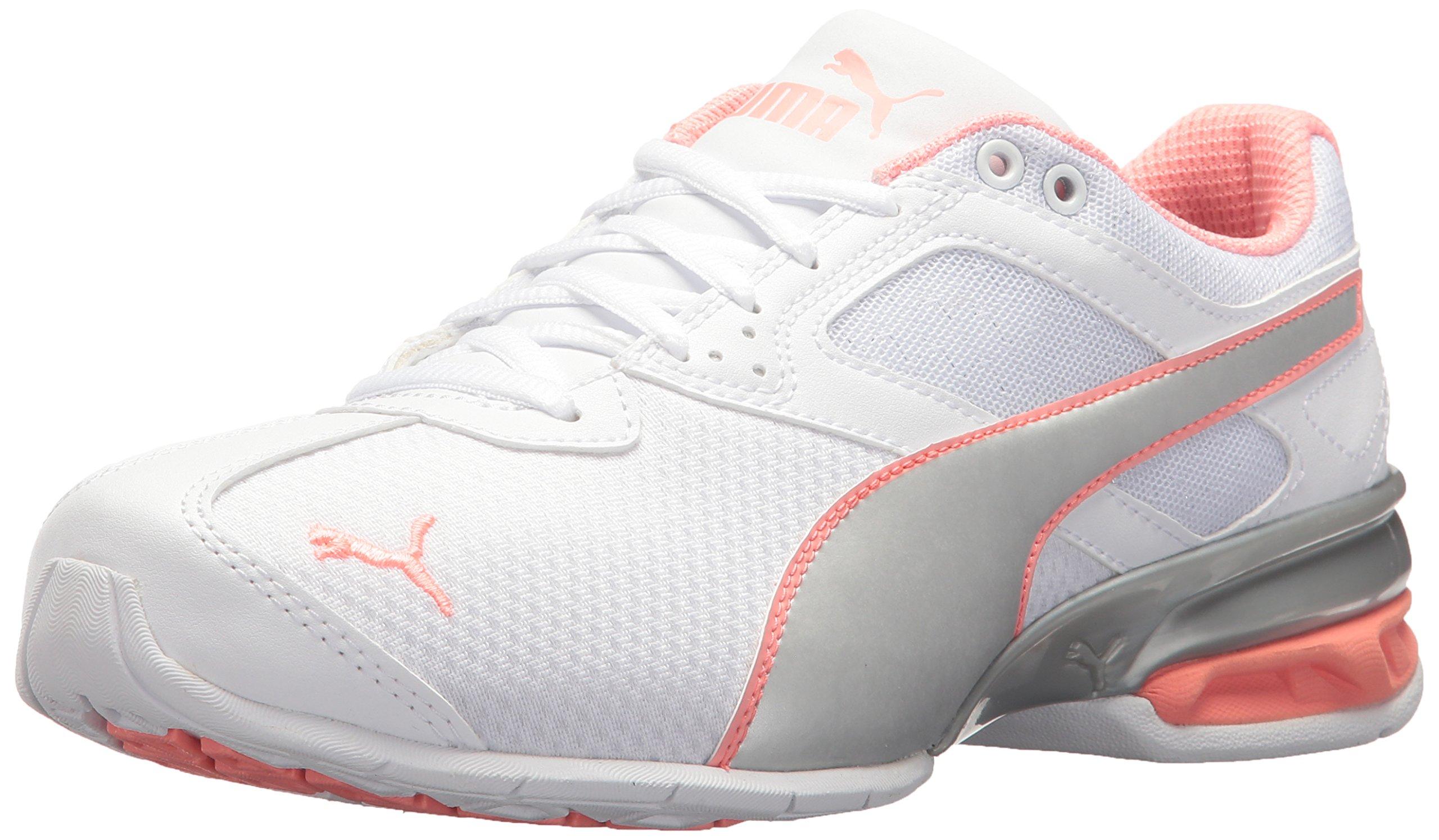 PUMA Women's Tazon 6 Metallic Wn Sneaker, White Silver-Soft Fluo Peach, 8.5 M US