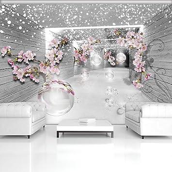 Forwall Fototapete Vlies Tapete Moderne Wanddeko D Magischer Tunnel Mit Blumen V Cm X