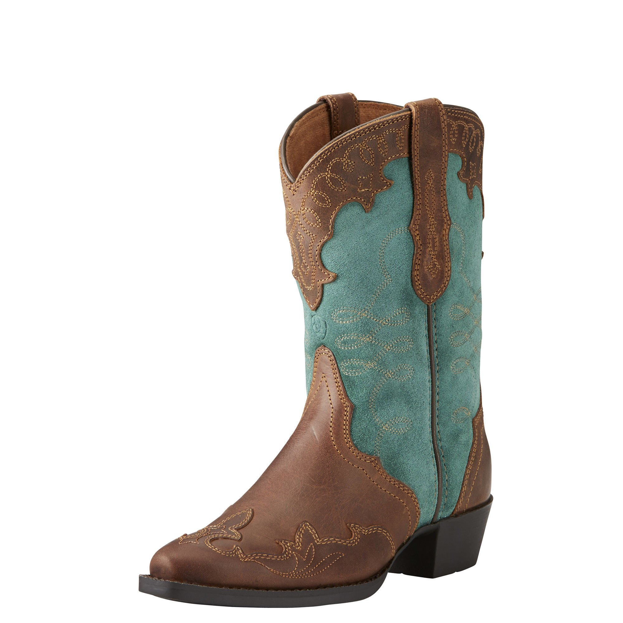 Ariat Girls Zealous Western Boot New West 8.5 M Distressed Brown