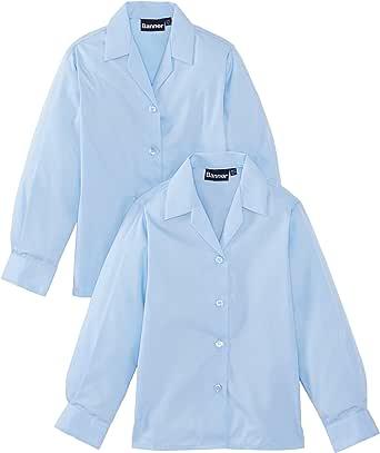 Blue Max Banner Revere Twin Pack Long Sleeve School Blusa para Niñas