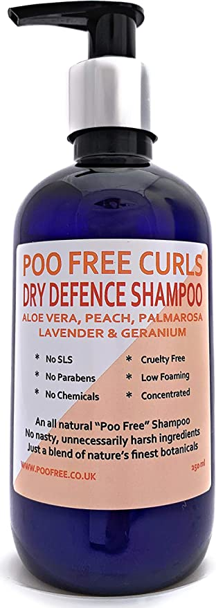 Natural Dry Defence Shampoo For Curly Hair Aloe Vera Peach Palmarosa Lavender Geranium 250ml By Poo Free No Sulfates No Parabens No Silicones Low Lather Gentle Concentrated