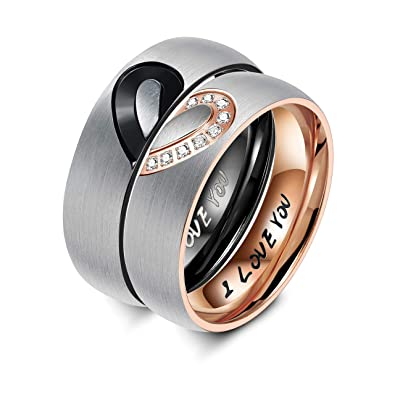 afef190497a2f Sllaiss His & Hers Rings,Set with Swarovski Zirconia,Engagement Bands Love  Heart Promise Ring Titanium Couples Wedding Ring Sets for Him and Her