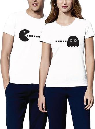 VIVAMAKE® Pack 2 Camisetas para Mujer y Hombre Originales con Diseño Pacman Mi Amor, Quiero Comerte: Amazon.es: Ropa y accesorios