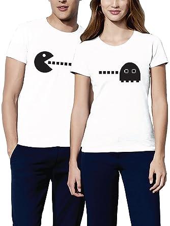 86d1a16949533 VIVAMAKE® Pack 2 Camisetas para Mujer y Hombre Originales con Diseño Pacman  Mi Amor