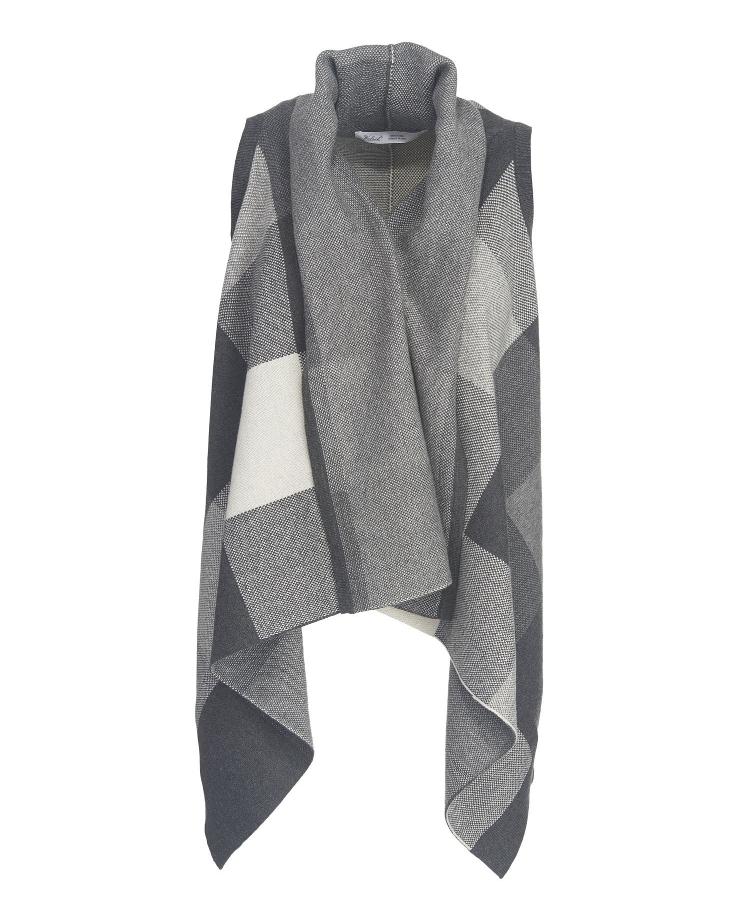 Woolrich Women's Buffalo Check Cardigan Sweater Vest Wrap, COOL GRAY BUFFALO (Gray), Size XL