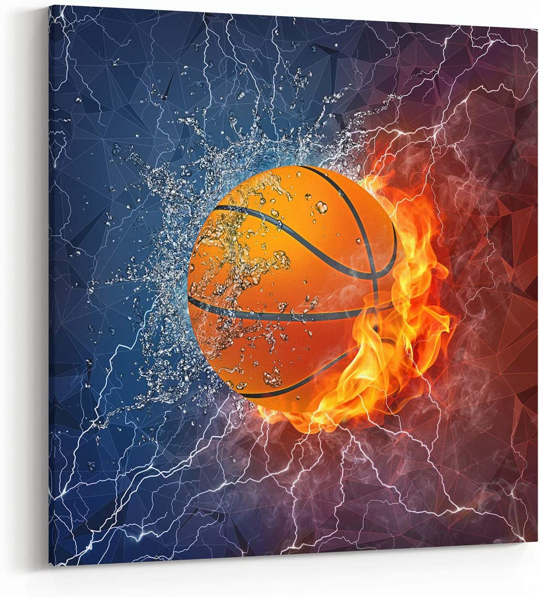 Basketball Canvas Wall Art, Cool Sport Ball on Fire and Water Abstract Giclee Print Home Decor Ready to Hang, 12x12 Inch