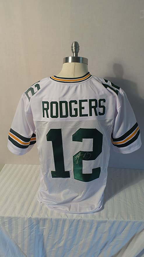 fb6d7d3c3 Aaron Rodgers Signed Green Bay Packers White Autographed Jersey Novelty  Custom Jersey Superbowl MVP