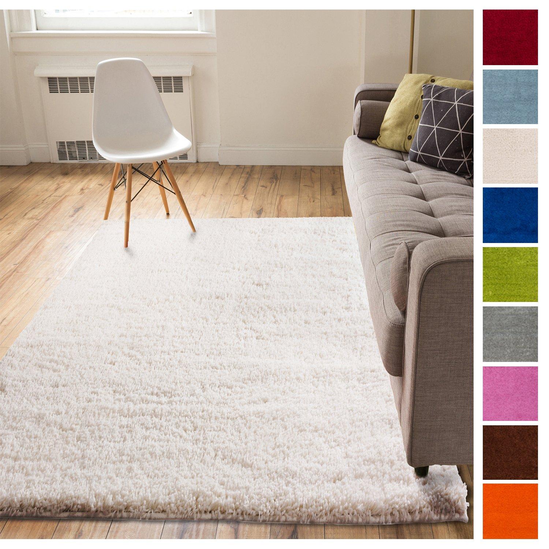 Solid Retro Modern Ivory Off-White Shag 7x10 ( 6'7'' x 9'10'' ) Area Rug Plain Plush Easy Care Thick Soft Plush Living Room Kids Bedroom
