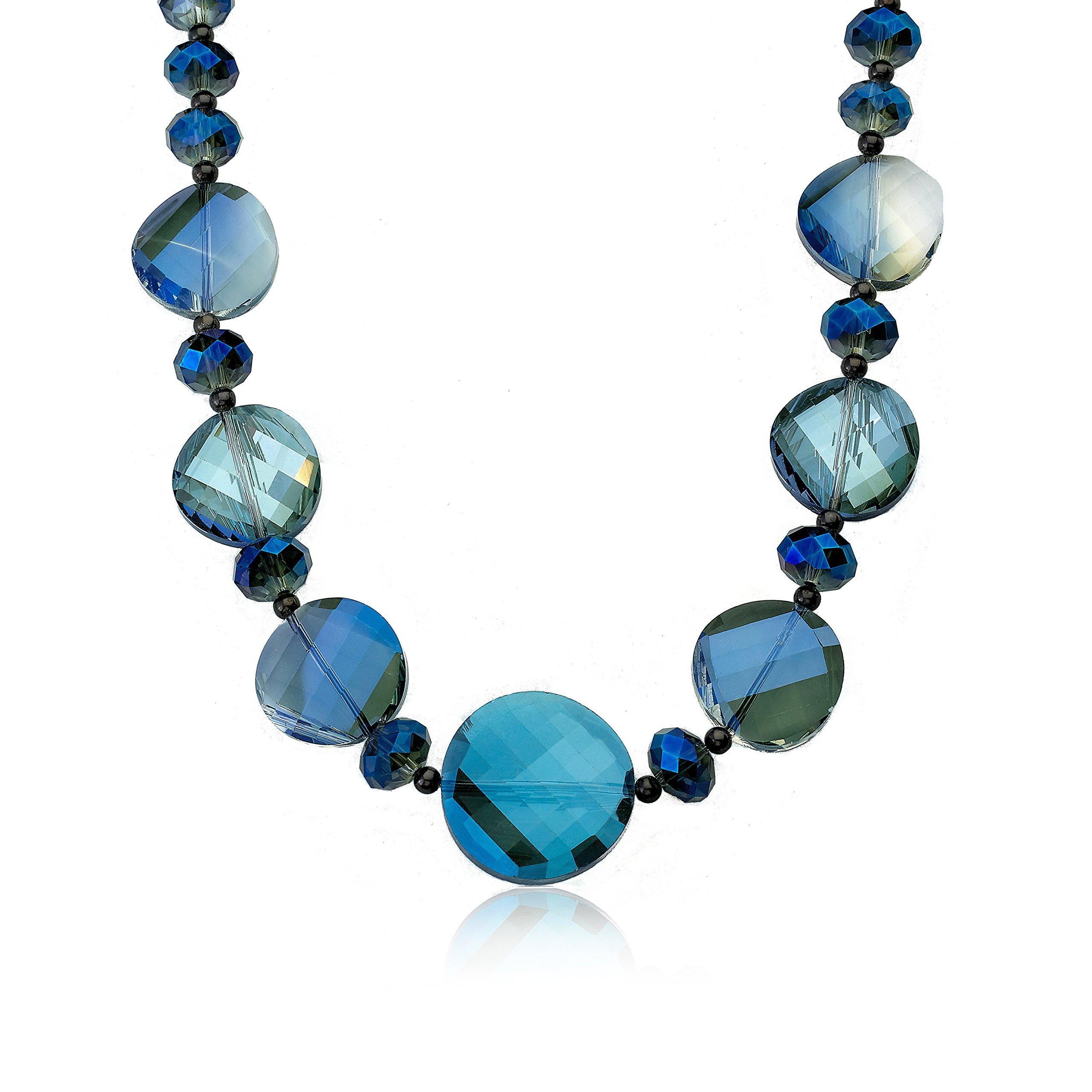 Riccova Avant-Garde Aqua Faceted Glass Necklace/18''