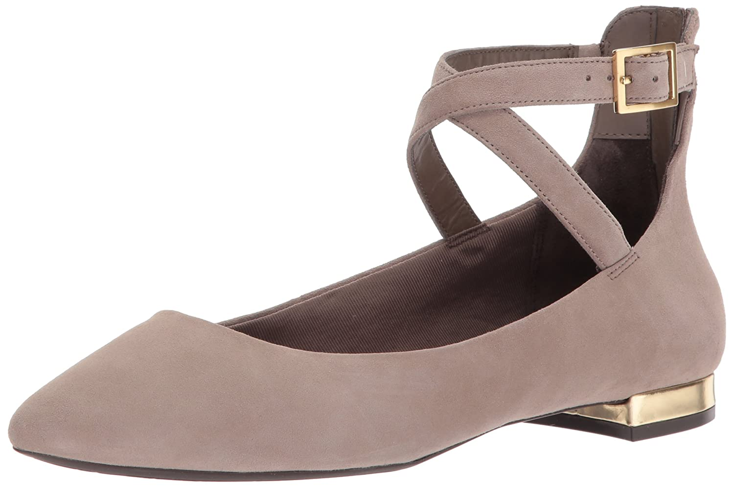Rockport Women's Total Motion Adelyn Anklestrap Ballet Flat B01N4SMDEX 6.5 B(M) US|Pebble Suede