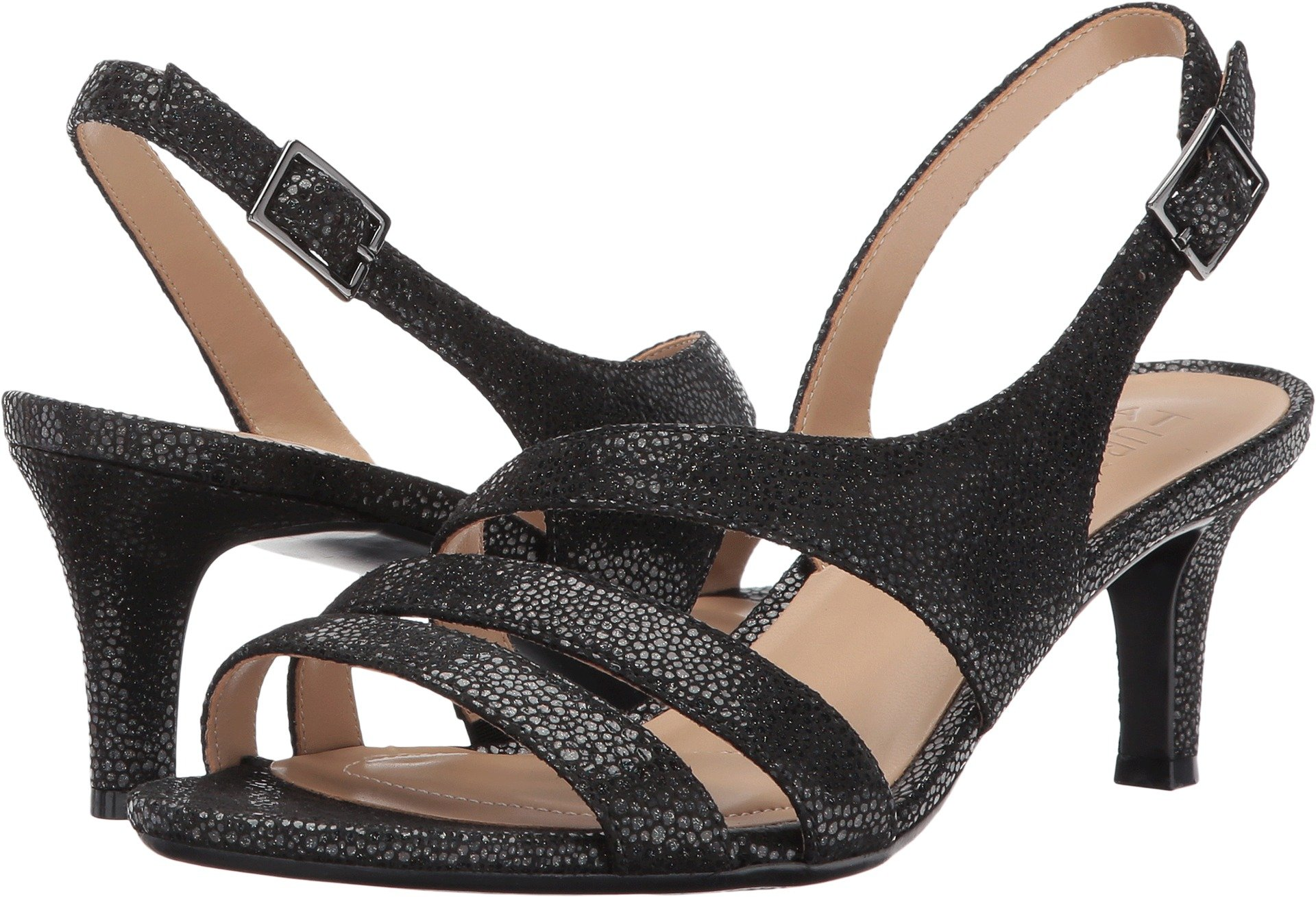 Naturalizer Women's Taimi Black Iridescent Pebbled Leather Sandal