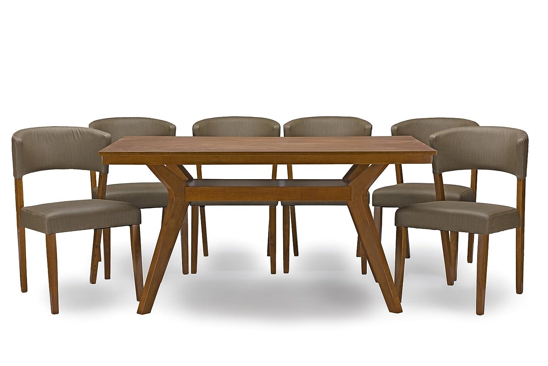 Amazon.com   Baxton Studio 7 Piece Montreal Mid Century Dining Set, Dark  Walnut   Table U0026 Chair Sets