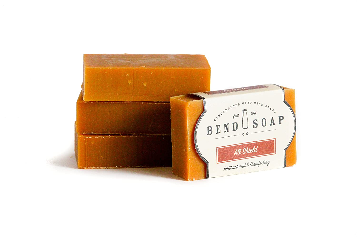 Bend Soap Company All Natural Handmade Goat Milk Soap for Dry Skin Relief, All Shield, 4 Count