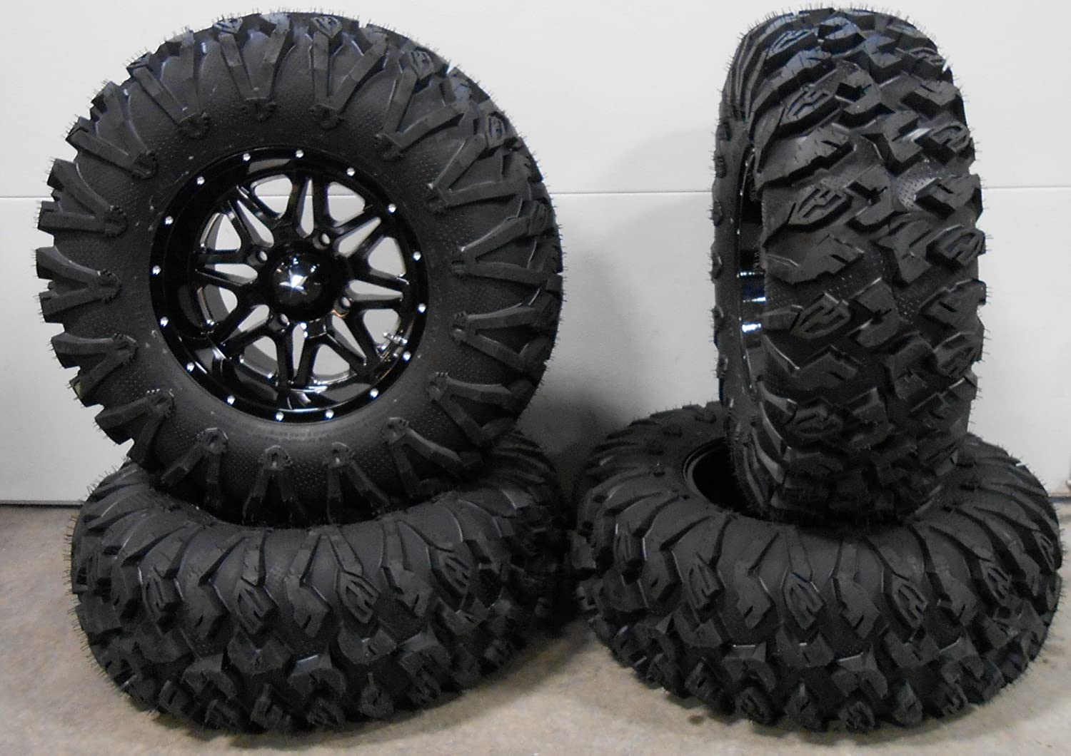 Bundle - 9 Items: MSA Black Vibe 14' ATV Wheels 30' MotoClaw Tires [4x156 Bolt Pattern 12mmx1.5 Lug Kit] Multiple
