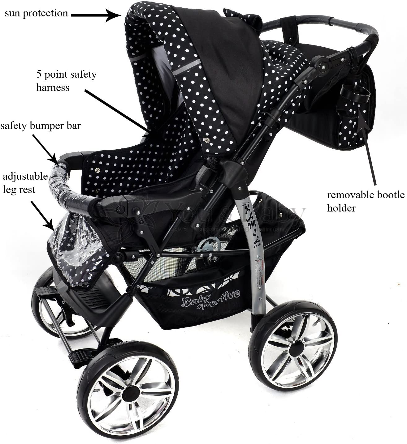 Baby Pram Car Seat WHEELS incl Classic 3-in-1 Travel System with 4 STATIC Pushchair /& Accessories Kamil FIXED White Polka Dots