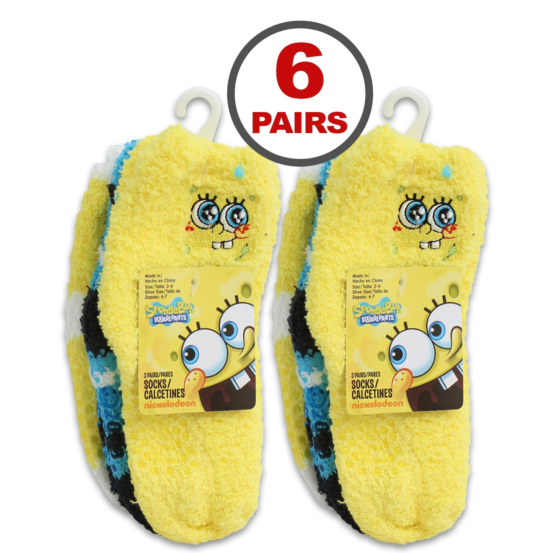 Amazon.com: SpongeBob SquarePants Nickelodeon 6-Pack Softee Fuzzy Socks (size 2T-4T): Clothing