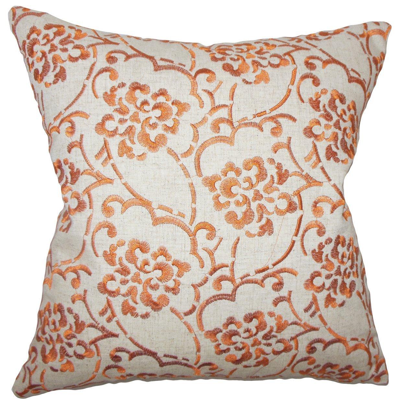 The Pillow Collection Zaltana Floral Bedding Sham Orange Queen//20 x 30