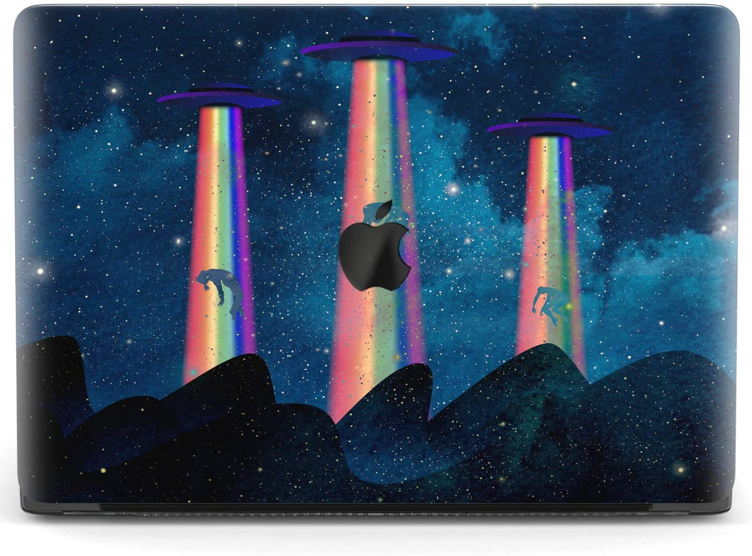 Mertak Hard Case Compatible with MacBook Pro 16 Air 13 inch Mac 15 Retina 12 11 2020 2019 2018 2017 Laptop Clear UFO Plastic Print Touch Bar Protective Spaceship Alien Night Cute Cover Rainbow