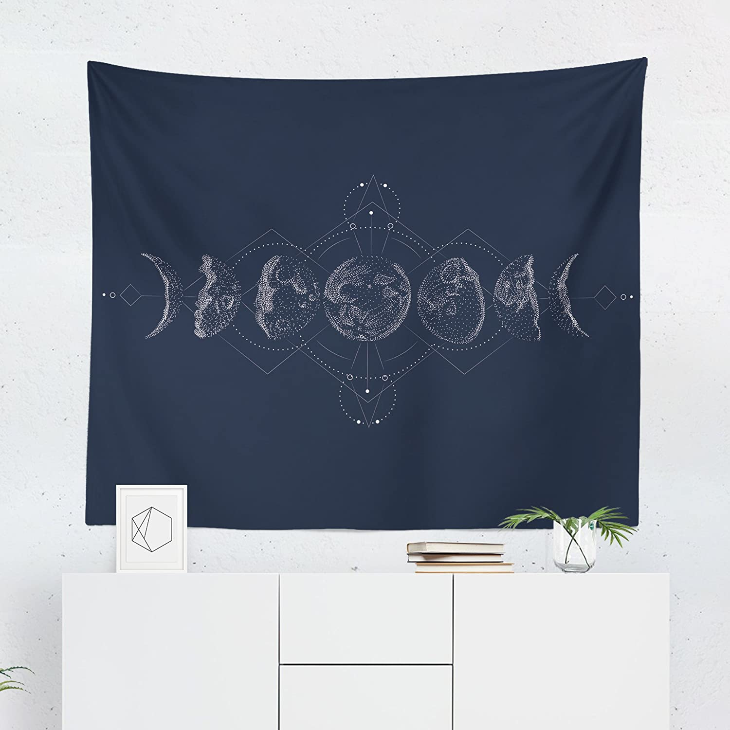 Moon Phases Tapestry - Stars Geometric Space Symbol Wall Tapestries Hanging Décor Bedroom Dorm College Living Room Home Art Print Decoration Decorative - Printed in the USA - Small Medium Large