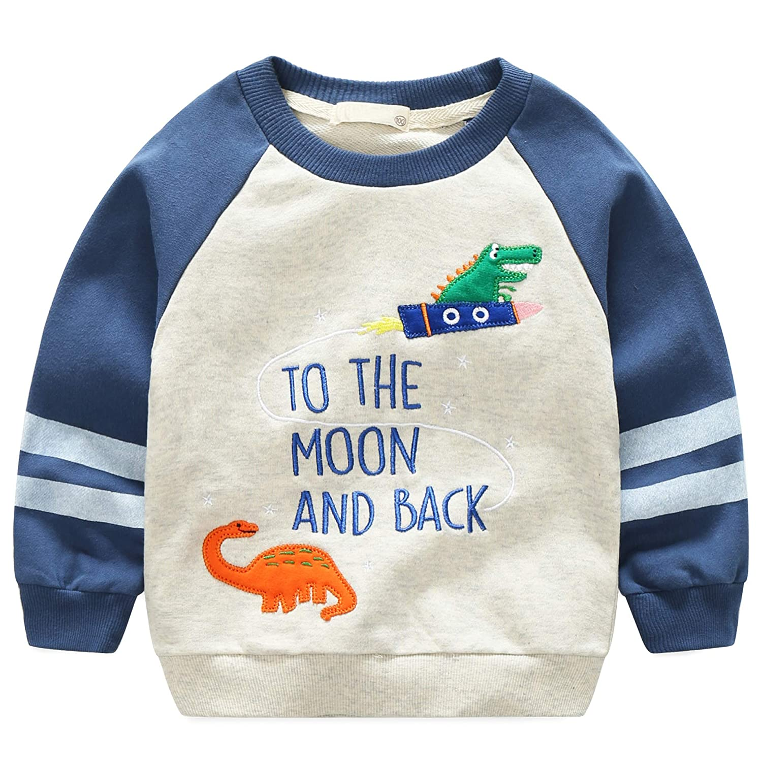Leping Boys Sweatshirt Kids Toddlers Baby Crew Neck Long Sleeve Pullover Sweater 2-7 Years