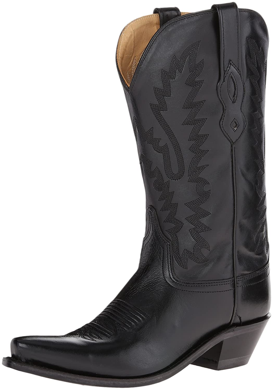 Old West Ladies Leather Fashion Cowgirl Boots B005OTEHK6 6 B(M) US|Black
