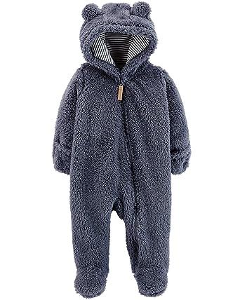 c38e51751 Amazon.com: Carter's Baby Hooded Sherpa Pram Sleep & Play: Clothing