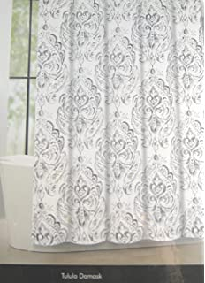 Tahari Home Fabric Shower Curtain Tulula Floral Damask Whtie Gray 72