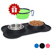 Small Dog Bowls Set of 2 Stainless Steel Bowls with Non-Skid & No Spill Silicone Black Stand for Small Dogs Cats Puppy & Collapsible Travel Pet Bowl