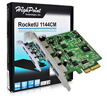 Amazon.com: HighPoint RocketU 1144 cm 4 puertos 5 Gb/s USB ...