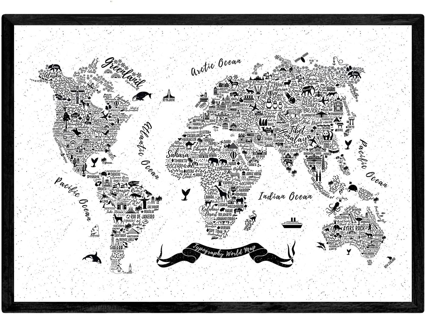 Sheets with maps of the world A3 size Nacnic Poster with typographic map