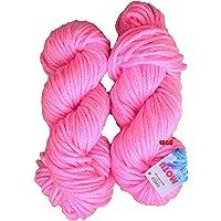 GANGA Knitting Yarn Thick Chunky Wool, Pink 200 gm Best Used with Knitting Needles, Crochet Needles Wool Yarn for Knitting. by GANGA