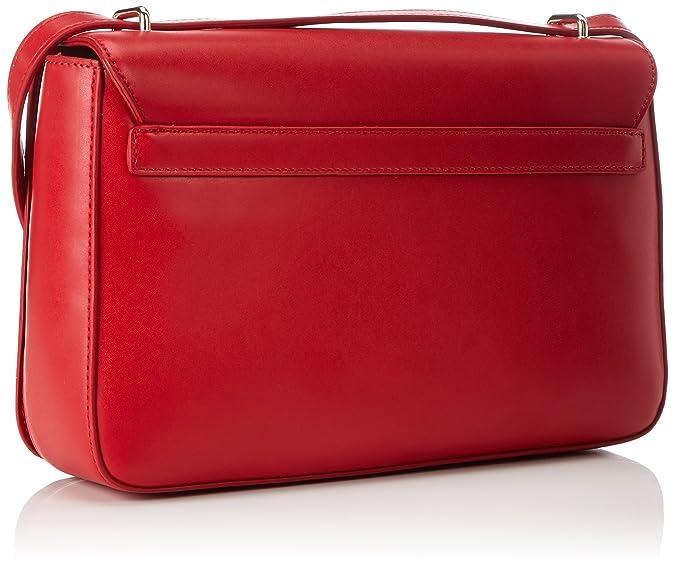 Damen Borsa Grain Pu Rosso Schultertasche, rot (Red), 6 x 19 x 30 cm Love Moschino