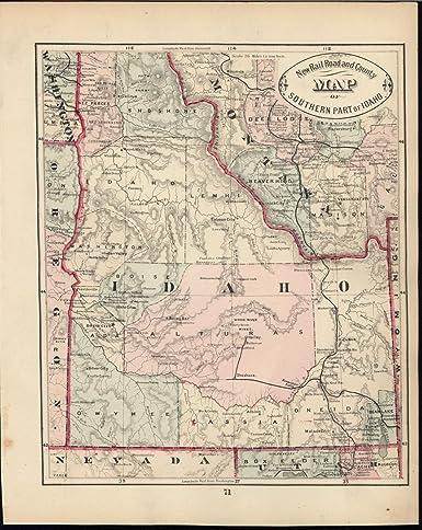 Albion Idaho Map.Amazon Com Idaho Early Statehood Map 1882 Antique Uncommon
