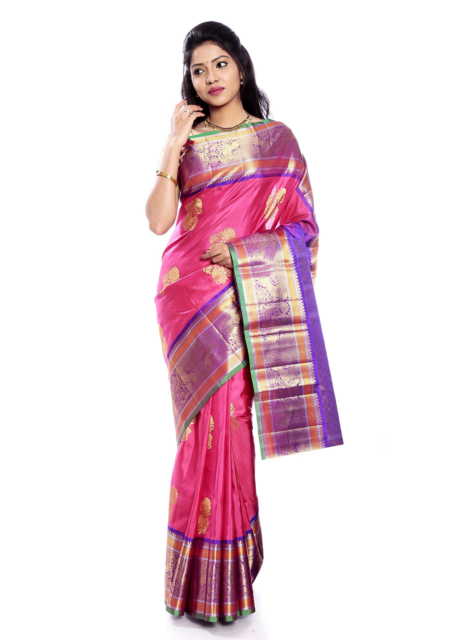 Mandakini — Indian Women's Kanchipuram - Handloom - Pure Silk Saree (Pink ) (MK221)