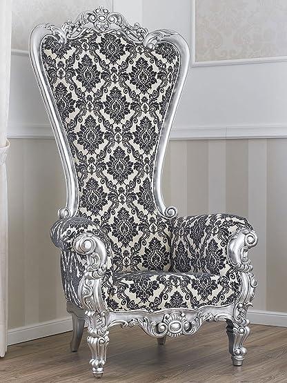 Poltrona trono stile Barocco Moderno foglia argento tessuto ...