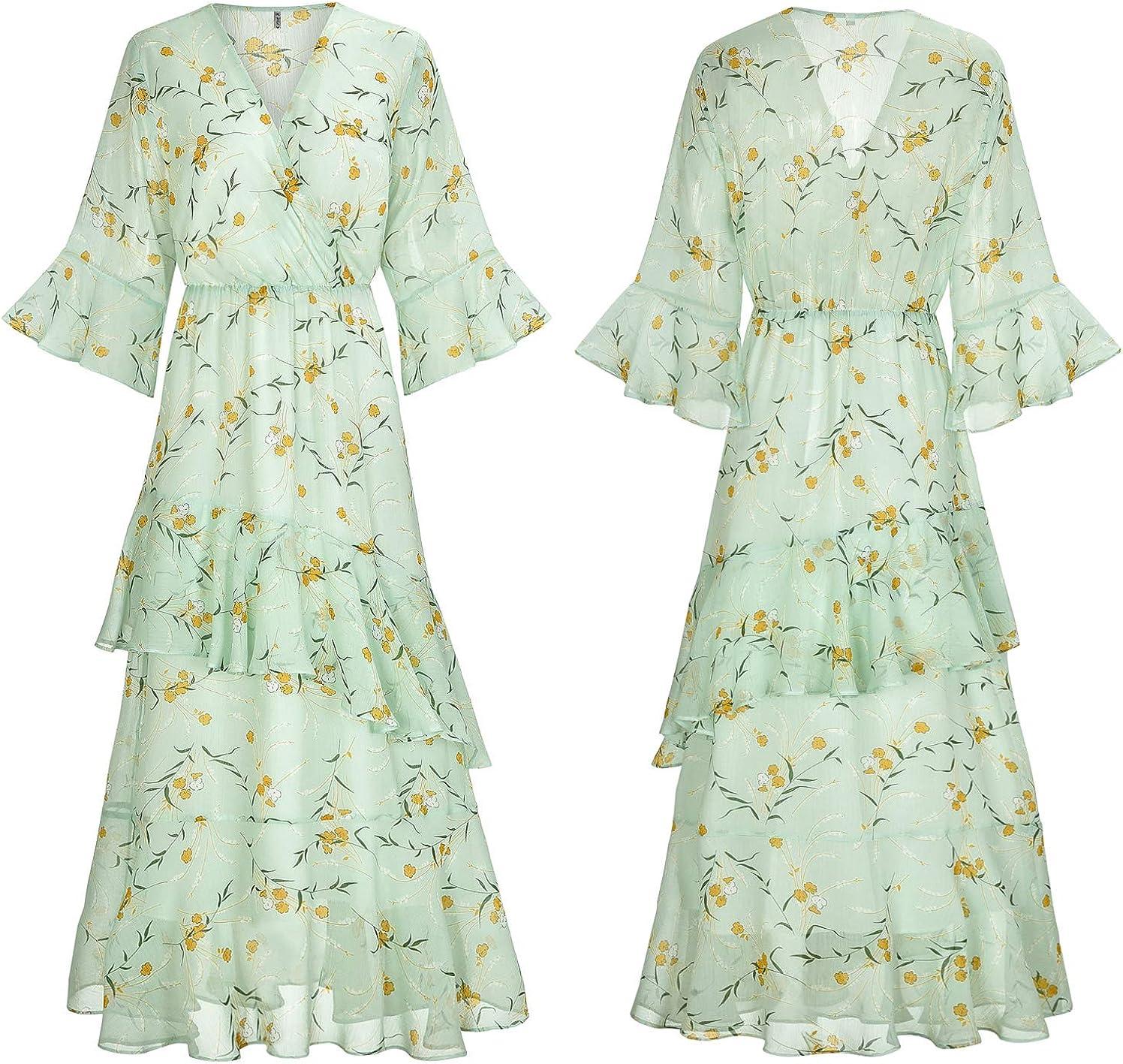 *NEW* Summer Colours Chiffon Retro Print Dress//Craft Fabric Material *FREE P/&P*