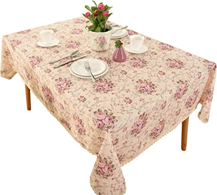 Vintage Rectangle Tablecloth Table Linen Floral Chinese Needlework Empress Of China Collection