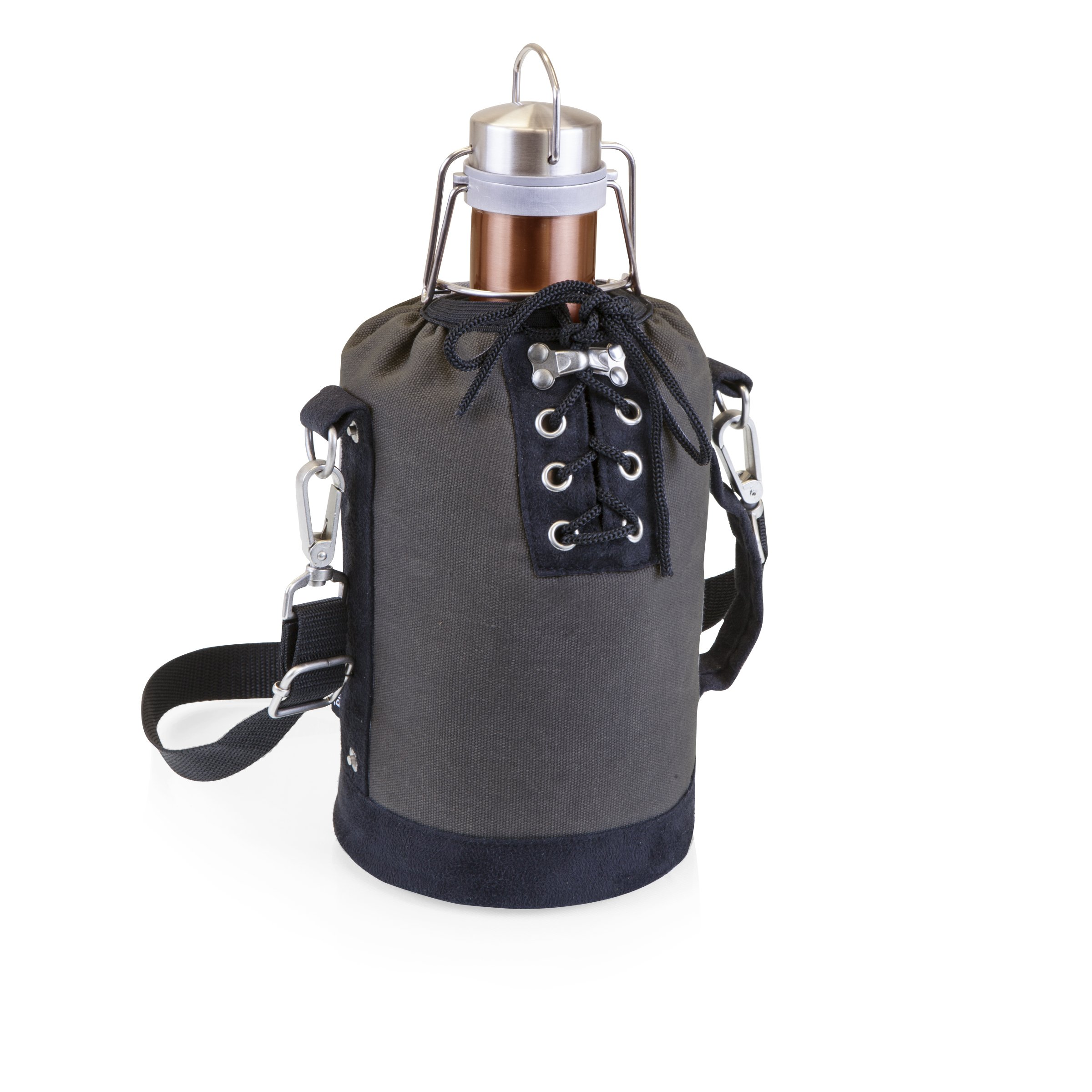 LEGACY - a Picnic Time Brand Stainless Steel Growler with Copper Finish and Gray and Black Canvas Lace up Growler Tote, 64-Ounce