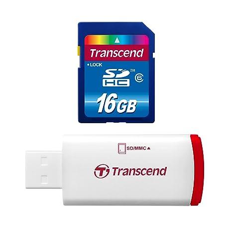 Transcend Hi-Speed - Tarjeta de Memoria SDHC de 16 GB (Clase 6, con Lector USB 2.0)